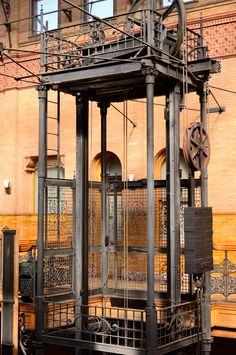 Bradbury Building, Los Angeles 19th century Original, working, manual elevators with weights and pulleys. #architecture #victorian #losangeles #vintage