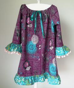 Art Gallery fabric, Indelible, pattern by Sis Boom. Pom Poms and frills, little girl's  peasant dress.
