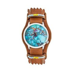 Boum Originaire Ladies Marbelized Dial Leather-Band watch ($60) ❤ liked on Polyvore featuring jewelry, watches, brown, animal print jewelry, brown leather band watches, dial watches, animal print watches and leather wrist band watch