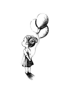 "Pen and Ink Drawing ""Balloons"" Pencil Art Drawings, Easy Drawings, Drawing Sketches, Drawing Art, House Drawing, Daily Drawing, Girl Holding Balloons, Its A Girl Balloons, How To Draw Balloons"