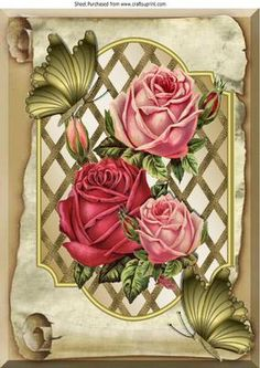 Pretty roses on lattice frame on a scroll butterflies A4 on Craftsuprint - Add To Basket!