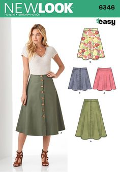 Sewing Skirts this easy, flared full skirt pattern for miss includes midi length or mini skirt with button front closure, and knee length or mini length skirt with back zipper. new look sewing pattern. Skirt Patterns Sewing, Free Sewing, Vintage Sewing Patterns, Clothing Patterns, Skirt Sewing, Pattern Sewing, Coat Patterns, Pattern Drafting, Blouse Patterns