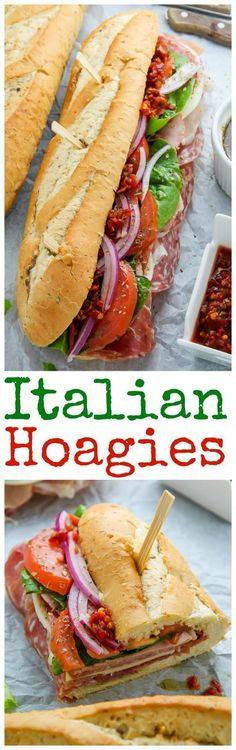 The Best Philly Style Italian Hoagies! This recipe is perfect… The Best Phil… The Best Philly Style Italian Hoagies! This recipe is perfect… The Best Philly Style Italian Hoagies! This recipe is perfect for parties game day or packed lunches. Soup And Sandwich, Sandwich Recipes, Lunch Recipes, Cooking Recipes, Salami Sandwich, Detox Recipes, Hoagie Sandwiches, Vegan Sandwiches, Chicken Sandwich