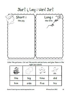 Long i Word Work Games and Activities | On my own, Word sorts and ...
