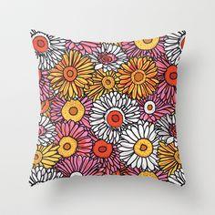 Daisy Pattern Throw Pillow by Jen Montgomery