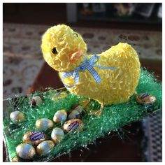 Simple Easter Decoration- Just get a tray, some fake grass(used in Easter baskets), an Easter figure(ine), and some candy eggs