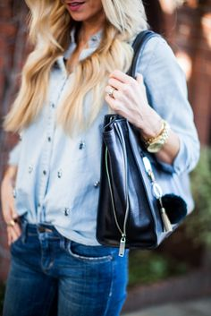 Denim + Black + Gold Details