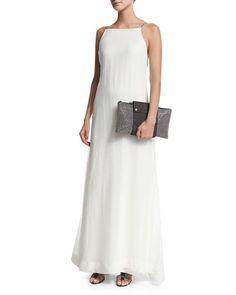 W0A1X Brunello Cucinelli Monili-Strap A-Line Gown, White