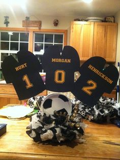 Another view of the soccer centerpieces Soccer Birthday Parties, Soccer Party, Sports Party, 12th Birthday, Soccer Ball, Birthday Ideas, Soccer Centerpieces, Banquet Decorations, Banquet Ideas