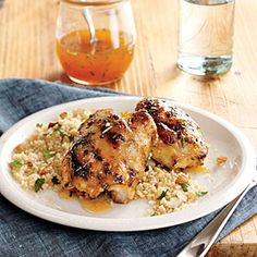 Apricot-Rosemary Chicken Thighs with Roasted Almond Couscous | Cooking Light #myplate #protein #wholegrain