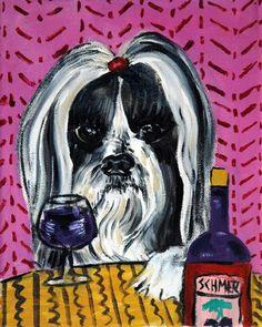 Shih Tzu at the Wine Bar Dog Art Print by SCHMETZPETZ on Etsy, $17.99