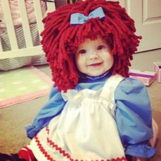 Infant Halloween costume- only I wouldn't make my baby wear a wig