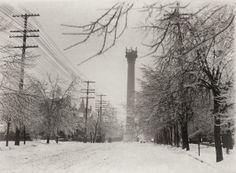 Grand Avenue Water Tower in winter. Twentieth Street and East Grand Avenue. [Old White Water Tower]. (1900) ©Missouri History Museum