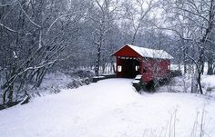 Red Covered Bridge.   Kissing in the middle of the bridge is suppose to bring good luck!