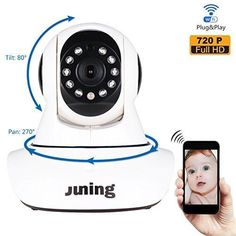 Baby Monitor Home Wifi Wireless Security Camera System 720P HD Pan Tilt (Day/Night Vision2 Way AudioSD Card Slot Alarm)-JUNING C25 IP Camera