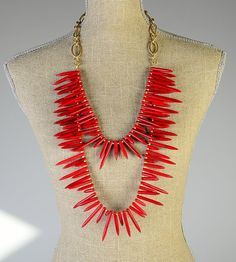 Custom Made Long Red Double Spike Statement Necklace