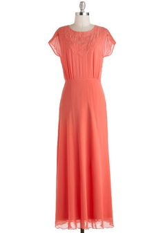 Dreaming in Coral Dress. Let all of your treasured style musings manifest themselves in an outfit starring this vibrant, vintage-inspired coral gown! Peach Maxi Dresses, Cute Dresses, Bridesmaid Dresses, Coral Bridesmaids, Tall Dresses, Frilly Dresses, Retro Vintage Dresses, Vintage Inspired Dresses, Vintage Outfits