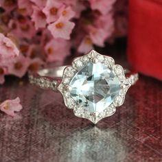 White Gold Aquamarine Engagement Ring in 14k Gold Scalloped Diamond Wedding Band Vintage Inspired Floral 8x8mm Cushion Gemstone Ring
