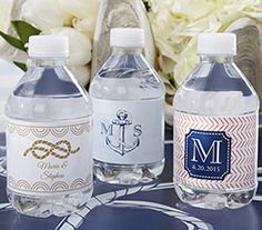 royal nautica wedding | Personalized Water Bottle Labels - Kate's Nautical Wedding Collection