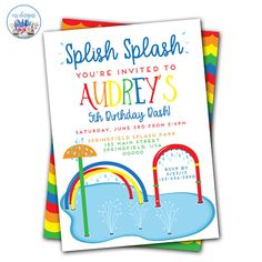 Splish Splash Invitation Splash Party Invitations Splash