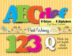 Alphabet Digital Stamp Clip Art  Bright by PixelWhimsyDesign, $5.00