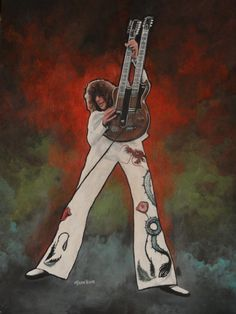 Jimmy Page with Multi Color Background - mixed media by Dean Huck