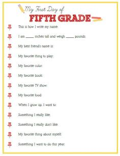 First Day of Fifth Grade Interview - Click image or link below to download