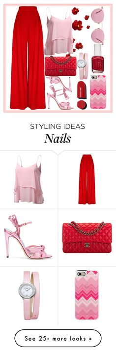 """""""red and pink"""" by ximenita on Polyvore featuring Gucci, Chanel, Baume & Mercier, Casetify, Essie and Oliver Peoples"""