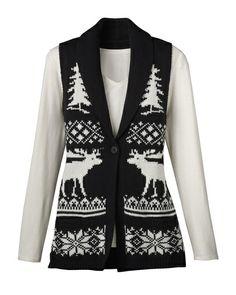 Reindeer sweater vest -- Coldwater Creek