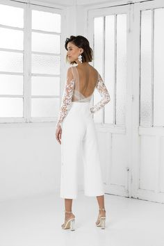 Lace long sleeve cropped straight leg wedding jumpsuit with pockets - - Tailored Braham Rime Arodaky white bridal jumpsuit with flare trousers. Naked skin bodice with delicate embroidered flowers. Wedding Rehearsal Outfit, Rehearsal Dinner Outfits, Engagement Party Dresses, Wedding Dresses, Rehearsal Dinner Looks, White Rehearsal Dinner Dress, Reception Dresses, Engagement Parties, Gown Wedding