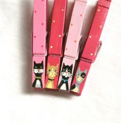 PINK CATS CLOTHESPIN magnets hand painted pegs by SugarAndPaint, $12.00