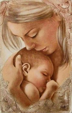 Mother and Child ~ Artist Lucia Coghetto Mother And Daughter Drawing, Mother And Child Painting, Mother Art, Mother And Baby, Baby Painting, Painting For Kids, Baby Drawing, Drawing For Kids, Madonna And Child
