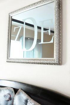 Use big white mirror, spray paint sliver, used etched glass vinyl and hang in the new dining room!!