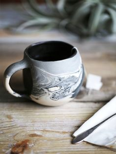 Marble Tea Mug | Beautiful marble designed ceramic tea mug. American made from the designers studio in Chicago, IL. *Leah Ball *Pink: Dishwasher and microwave safe. *Grey: Dishwasher safe.
