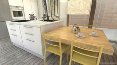 Detalle de la isla de cocina de un proyecto de cocina y sala de estar realizado con mobiliario y complementos de Smartmobel.