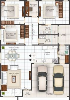 This house concept is a beautiful one-story house of medium size, functional and comfortable. The main facade has a house with an apparent roof and a garage with a parking space for 2 cars. Dream House Plans, Modern House Plans, Small House Plans, House Floor Plans, The Plan, How To Plan, Home Design Plans, Plan Design, One Story Homes
