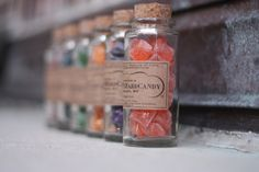 Vintage look bottles filled with candies. I'd love to receive this as a wedding favor!