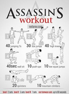 Workout for Assassins! It's really hot workout.
