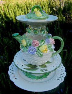 Tulip Time - Garden Art, Bird Feeder, Upcycled, Repurposed, Garden Totem, Garden Stake, Birdfeeder, Garden Sculpture, Yard Art, Teapot