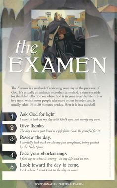 This is a link to a simple examen prayer card for practitioners interested in a daily examination of conscience as a means of deepening their spiritual reflections. Religion Catolica, Catholic Religion, Catholic Quotes, Catholic Prayers, Advent Catholic, Catholic Answers, Catholic Saints, Ignatian Spirituality, Spirituality