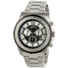 Invicta Men's 1008 II Chronograph Silver and Black Dial Stainless Steel Watch (Watch)  #invicta