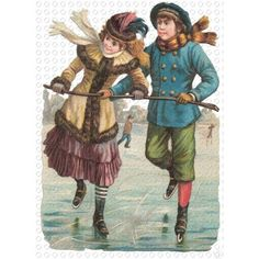 Victorian Ice Skating Couple Transparent Christmas GIF Clip Art