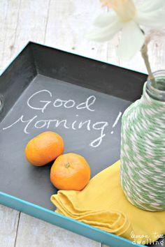 DIY chalkboard breakfast tray and twine-wrapped vase from www.lemontreedwelling.com