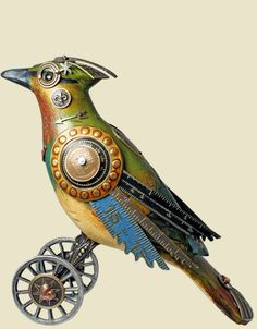Steampunk bird sculptures by mullanium Steampunk Kunst, Steampunk Bird, Steampunk Animals, Steampunk Fashion, Victorian Steampunk, Steampunk Clothing, Bird Sculpture, Animal Sculptures, Assemblage Art