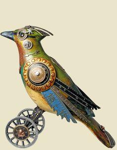 Steampunk bird sculptures (and other cool stuff @mullaniumbyjimandtori.com)