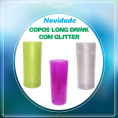Copos Long Drink com Glitter