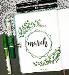 Bullet Journal Monthly Cover Ideas For March 2019 - Crazy Laura This monthly cover for march is sooo cute! 🌿🌿 Check out the rest of the list for more super f Bullet Journal Tracker, Bullet Journal School, February Bullet Journal, Bullet Journal Cover Ideas, Bullet Journal Notebook, Bullet Journal Spread, Bullet Journal Layout, Journal Covers, Bullet Journal Inspiration