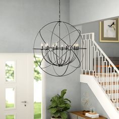 Great Price Geyer Globe Chandelier By Brayden Studio Large Foyer Chandeliers, Globe Chandelier, Black Chandelier, Bedroom Lighting, Chandelier Lighting, Interior Lighting, Lighting Ideas, Colored Dining Chairs, Farmhouse Chandelier