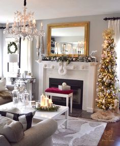 Cozy Christmas living room. I love this rug and garland on my chimney filled with ornaments bought from homegoods. Just add some pine trees and it's ready for the holidays!! (Sponsored pin)