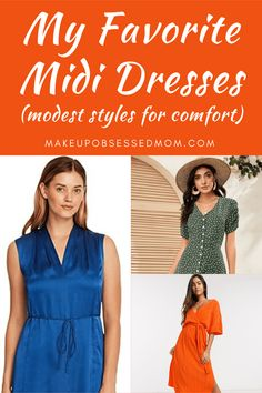 Casual style midi dresses that are mostly modest for comfort. These midi dresses can be worn by women of all ages. The styles are mostly casual, but can be dressed up and layered for different seasons. #mididresses #casualdresses #modestclothing Elegant Midi Dresses, Stunning Dresses, Modest Dresses, Modest Outfits, Modest Fashion, Summer Outfits Women Over 40, Casual Dresses For Women, Clothes For Women, Summer Fashion Trends